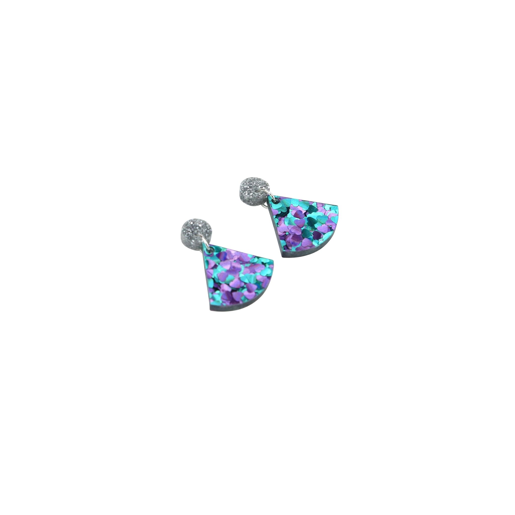 Geo Wedge I Silver Glitter & Turquoise Purple Hearts