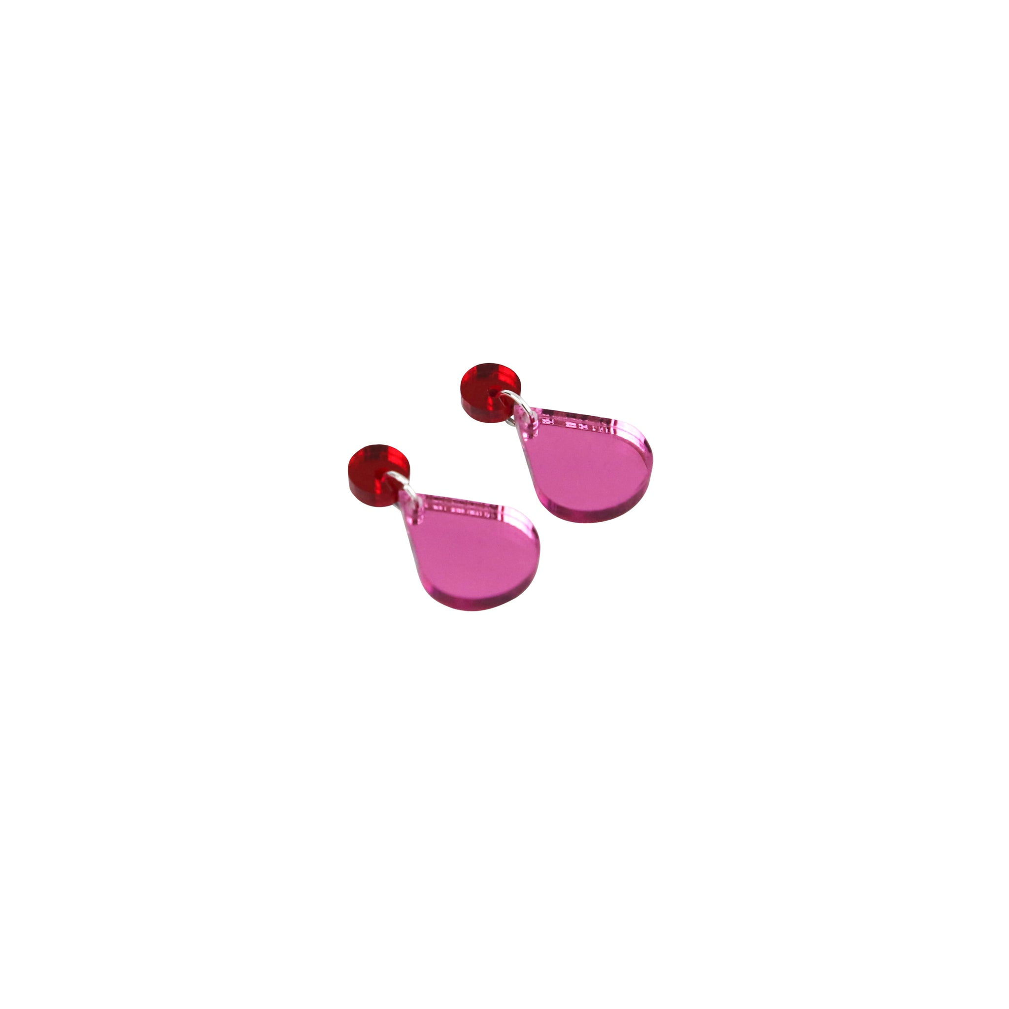 Geo Drops I Red & Pink Mirror