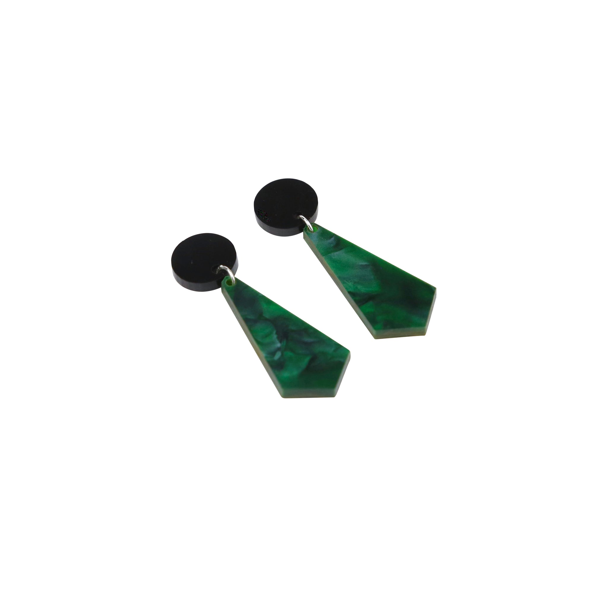 Geo Crystals I Black & Dark Green