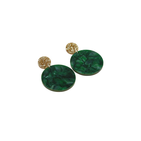 Geo Large Circles I Gold Glitter & Dark Green