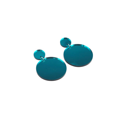Geo Large Circles I Teal Mirror