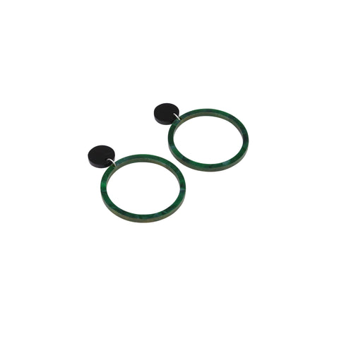 Geo Rings I Black & Dark Green