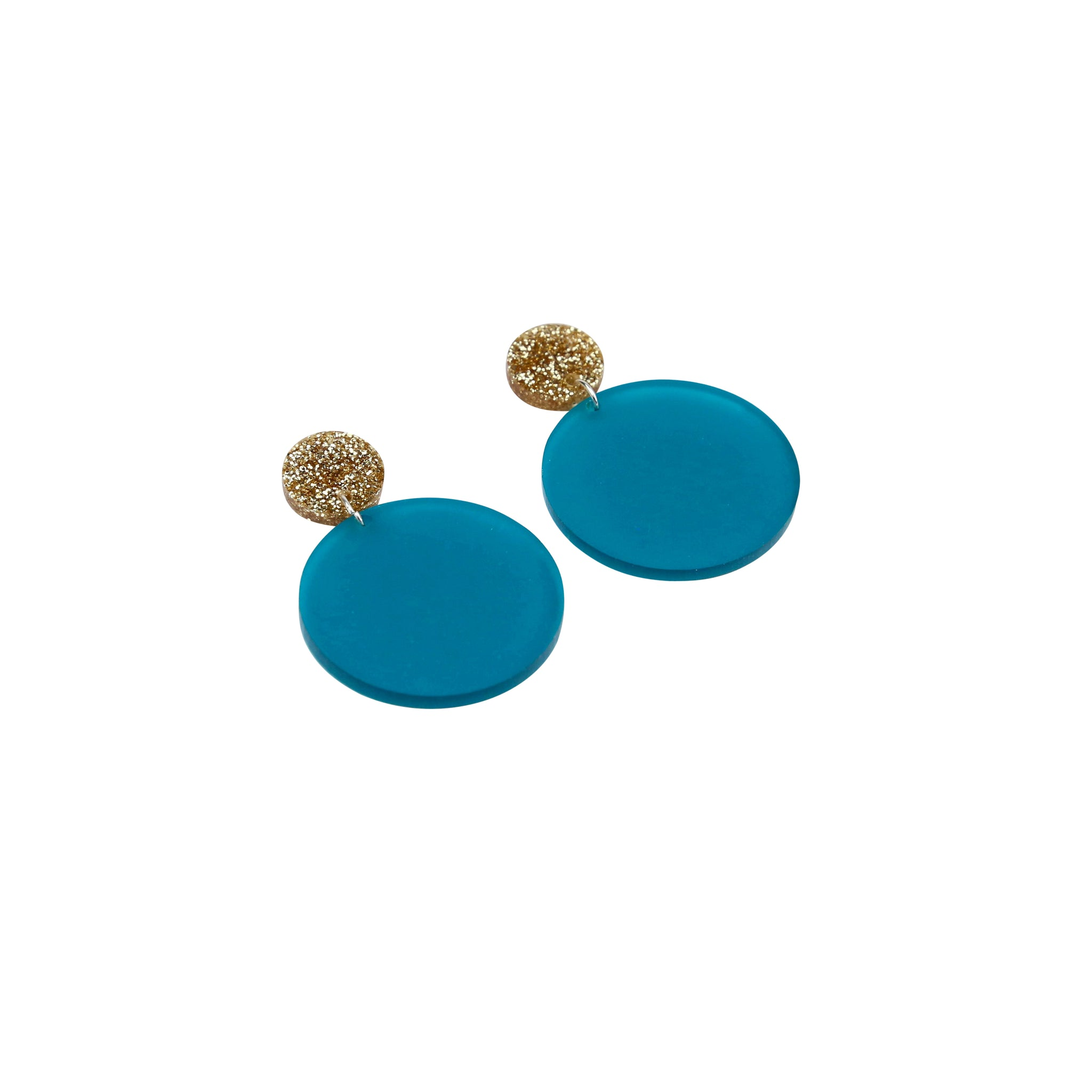 Geo Large Circles I Gold Glitter & Frosted Teal