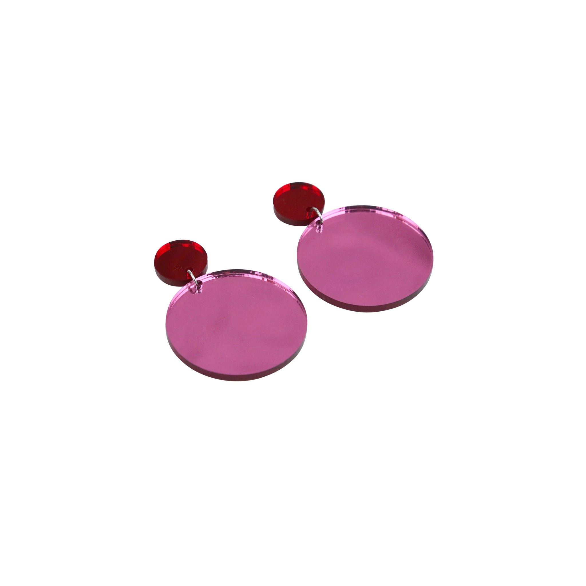Geo Large Circles I Red Mirror & Pink Mirror