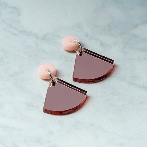 Geo Wedge I Blush Pink & Rose Gold Mirror