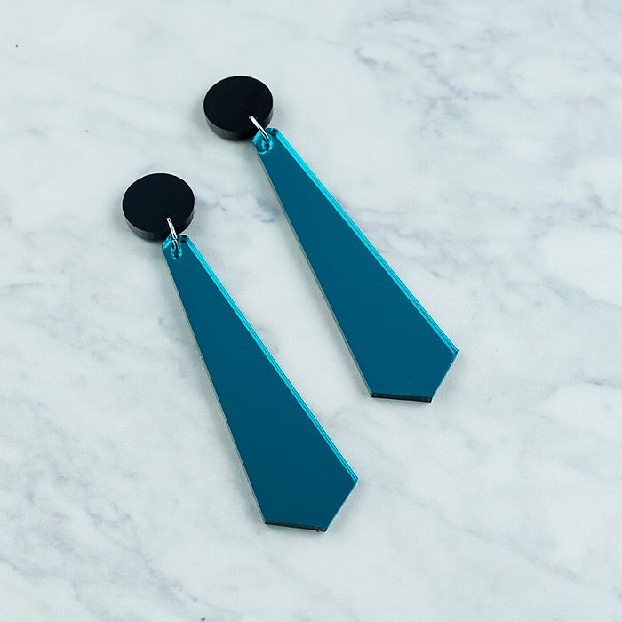 Geo Long Drop I Black & Teal Mirror