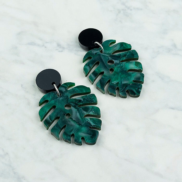 Geo Leaf I Black & Dark Green