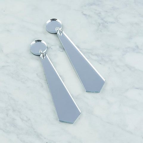 Geo Long Drop I Silver Mirror