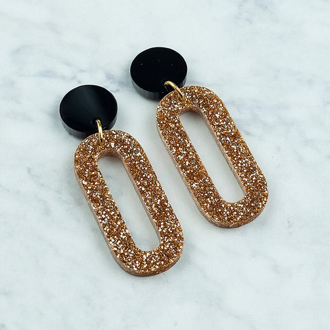 Geo Loops I Black & Gold Glitter