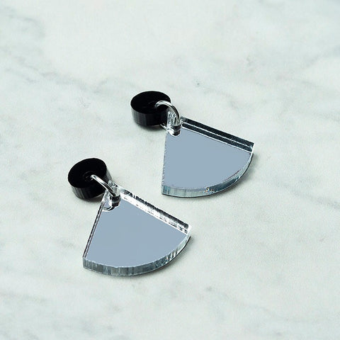 Geo Wedge I Black & Silver Mirror