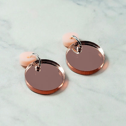 Geo Circle I Blush Pink & Rose Gold Mirror