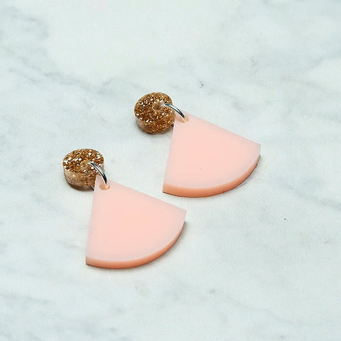 Geo Wedge I Gold Glitter & Blush Pink