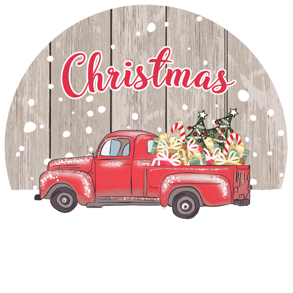 Red truck  Circle ornament