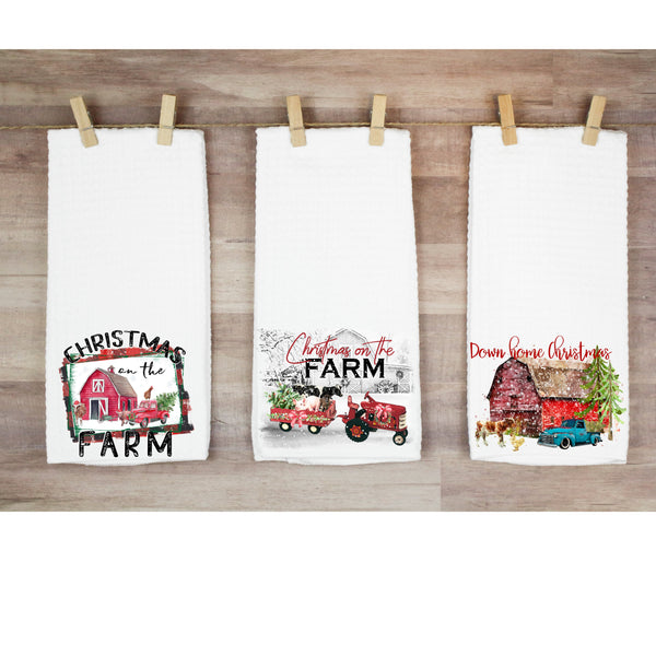 Country Christmas waffle weave towels