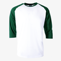 Varsity 3/4 baseball jersey raglan green sleeves white body