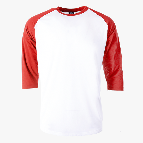 Varsity 3/4 Sleeve Baseball Tee red sleeve white body