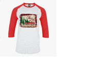 red truck merry christmas raglan adult unisex