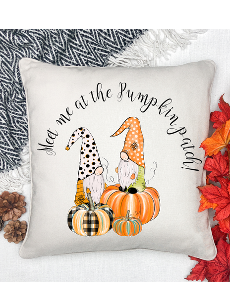 gnome meet me at the pumpkin patch pillow cover