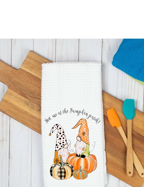 Meet me at the pumpkin patch gnome waffle weave towel