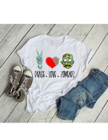 peace love and zombies unisex tee