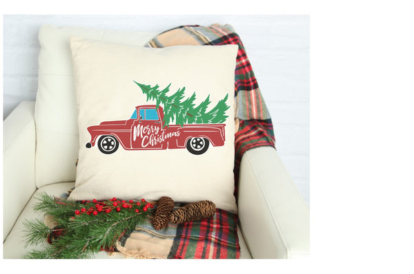 red truck linen pillow case covers