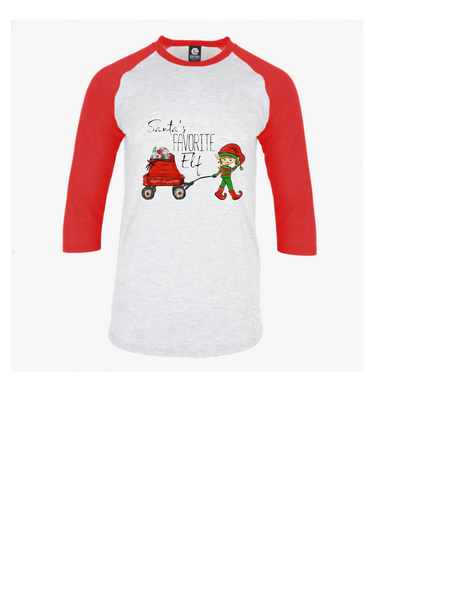 Santa's fav elf  Youth unisex raglan