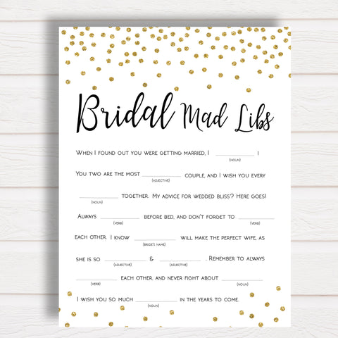 Bridal Mad Libs Bridal Shower Game in Gold Confetti
