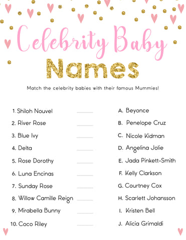 Celebrity Baby Name Game - Baby Shower Games - Pink & Gold