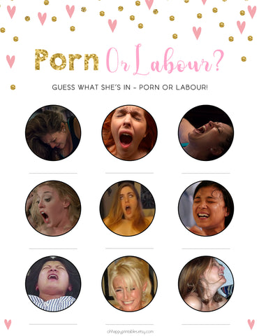 Porn or Labour Baby Shower Game in Pink & Gold