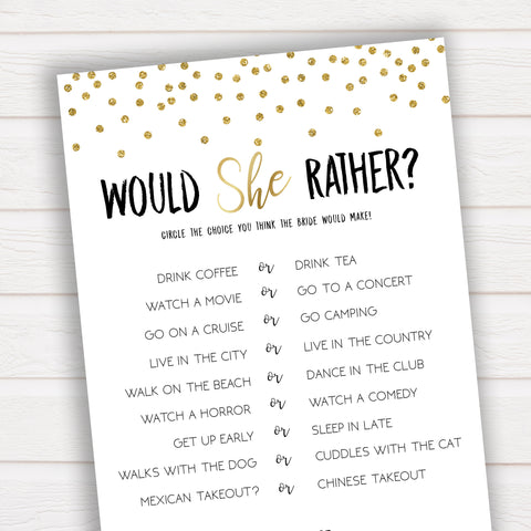 Would She Rather Bridal Shower Game in Gold Confetti