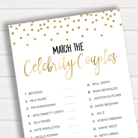 Match the Celebrity Couples Bridal Shower Game - Gold Confetti