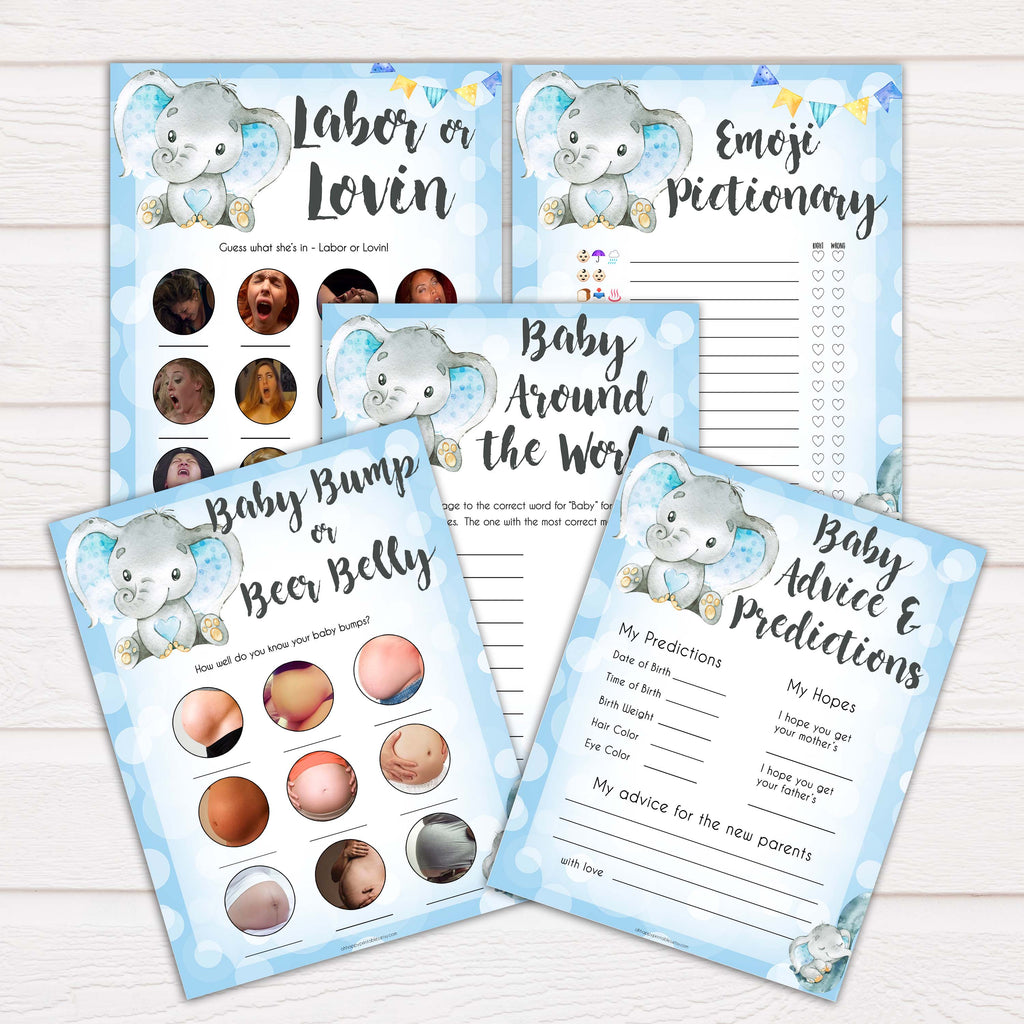 Blue Baby Elephant Baby Shower - 5 Game Pack Bundle - Its ...