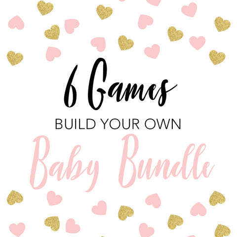 6 build your own baby shower games, baby shower game bundle, printable baby shower games, fun baby shower games, popular baby shower games