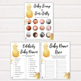 golden pineapple luau theme baby shower games, 9 tropical theme baby shower games, funniest baby shower games, popular baby shower games