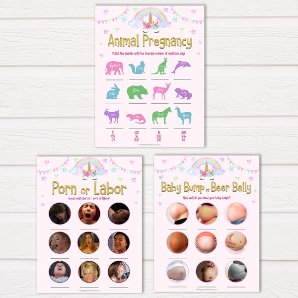Unicorn MEGA Baby Shower Games 9 Pack Bundle