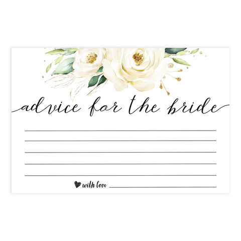 advice for the bride card Printable bridal shower games, floral bridal shower, floral bridal shower games, fun bridal shower games, bridal shower game ideas, floral bridal shower
