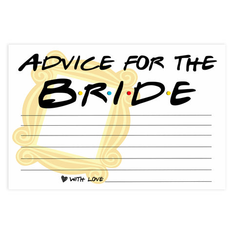 advice for the bridal, Printable bridal shower games, friends bridal shower, friends bridal shower games, fun bridal shower games, bridal shower game ideas, friends bridal shower