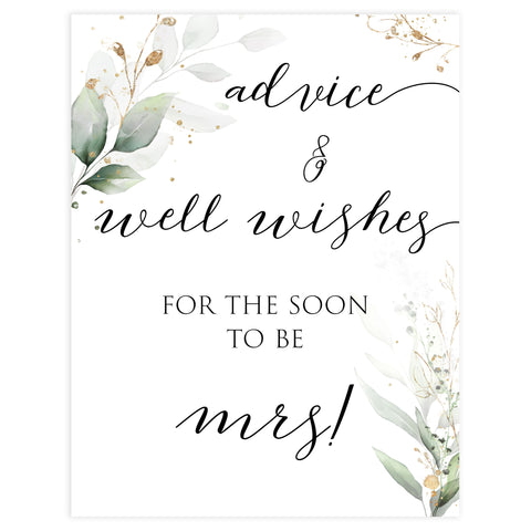 advice and well wishes sign, Printable bridal shower signs, greenery bridal shower decor, gold leaf bridal shower decor ideas, fun bridal shower decor, bridal shower game ideas, greenery bridal shower ideas