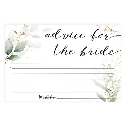 advice for the bride, bride advice, Printable bridal shower games, greenery bridal shower, gold leaf bridal shower games, fun bridal shower games, bridal shower game ideas, greenery bridal shower