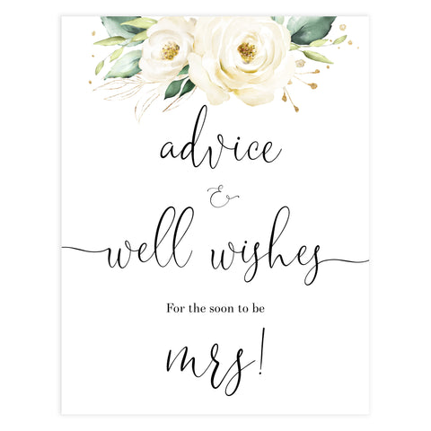 advice and well wishes sign, Printable bridal shower signs, floral bridal shower decor, floral bridal shower decor ideas, fun bridal shower decor, bridal shower game ideas, floral bridal shower ideas