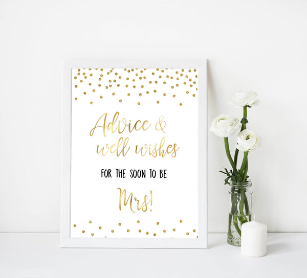 advice and well wishes bridal sign, printable bridal shower decor, printable bridal shower signs, gold bridal decor, gold bridal signs