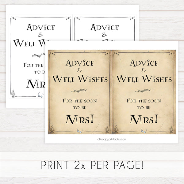 advice and well wishes for the bride, Printable bridal shower signs, Harry Potter bridal shower decor, Harry Potter bridal shower decor ideas, fun bridal shower decor, bridal shower game ideas, Harry Potter bridal shower ideas