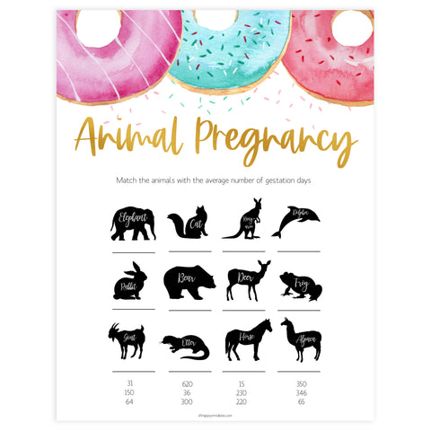 animal pregnancy game, Printable baby shower games, donut baby games, baby shower games, fun baby shower ideas, top baby shower ideas, donut sprinkles baby shower, baby shower games, fun donut baby shower ideas