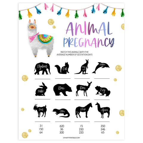 animal pregnancy game, Printable baby shower games, llama fiesta fun baby games, baby shower games, fun baby shower ideas, top baby shower ideas, Llama fiesta shower baby shower, fiesta baby shower ideas