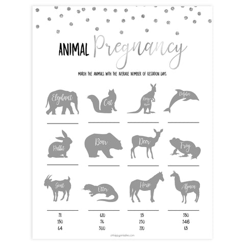 animal pregnancy game, Printable baby shower games, baby silver glitter fun baby games, baby shower games, fun baby shower ideas, top baby shower ideas, silver glitter shower baby shower, friends baby shower ideas