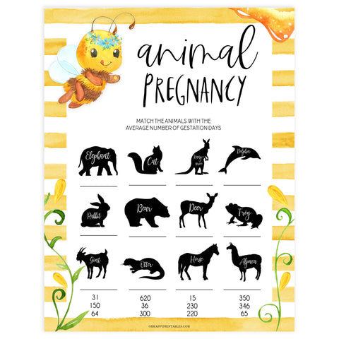 animal pregnancy game, Printable baby shower games, mommy bee fun baby games, baby shower games, fun baby shower ideas, top baby shower ideas, mommy to bee baby shower, friends baby shower ideas