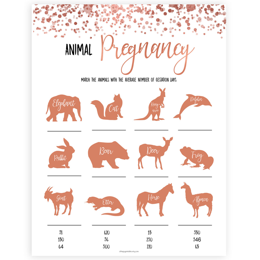 Image of: Dice Rose Gold Animal Gestation Game Animal Pregnancy Game Guess The Pregnancy Time Baby Oh Happy Printables Animal Pregnancy Baby Shower Game Rose Gold Printable Baby Games