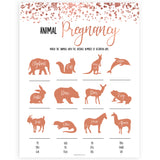 Rose Gold Animal Gestation Game, Animal Pregnancy Game, Guess the Pregnancy Time, Baby Animal Game, Animal Pregnancy Game, Baby Shower Games, printable baby shower games, fun baby shower games, popular baby shower games
