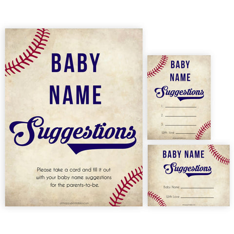 baby name suggestion game, baseball baby shower games, little slugger baby shower games, baby shower keepsakes, baby games, printable baby shower games