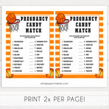 Basketball baby shower games, pregnancy candy match baby game, printable baby games, basket baby games, baby shower games, basketball baby shower idea, fun baby games, popular baby games